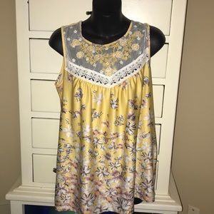 Yellow floral top- s